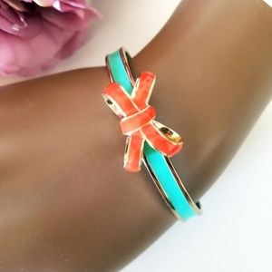 Vera Bradley Orange Teal Bow Cuff Bracelet